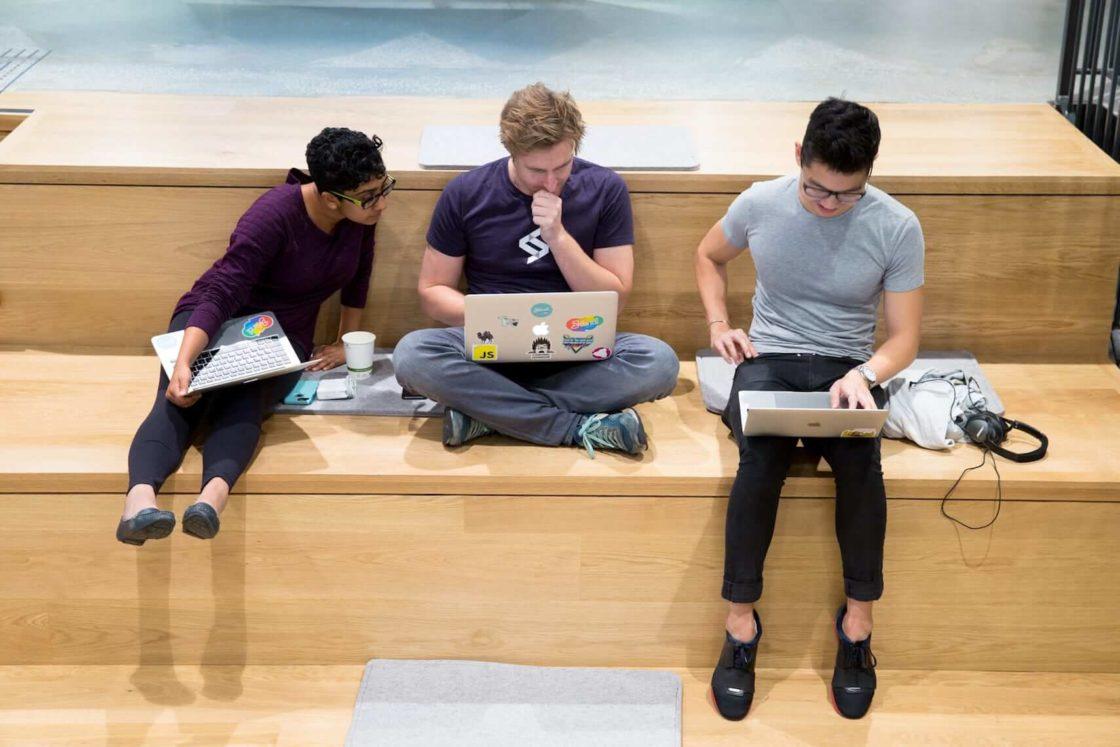 Nitya, Ian, and Mike working on the stairs