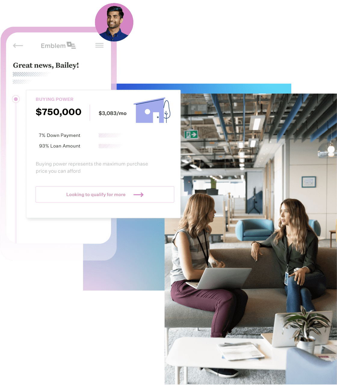 Approved mortgage interface with two females on a couch