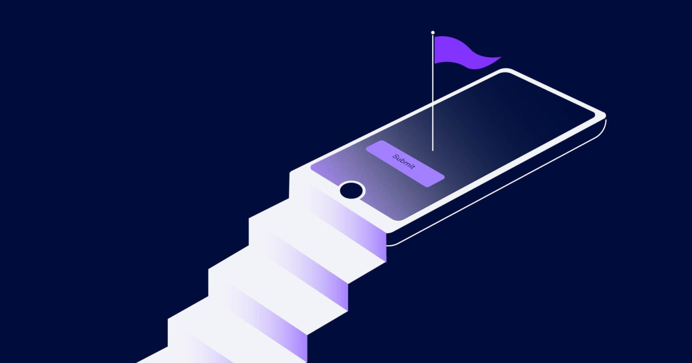 Illustration of steps leading up to a mobile phone
