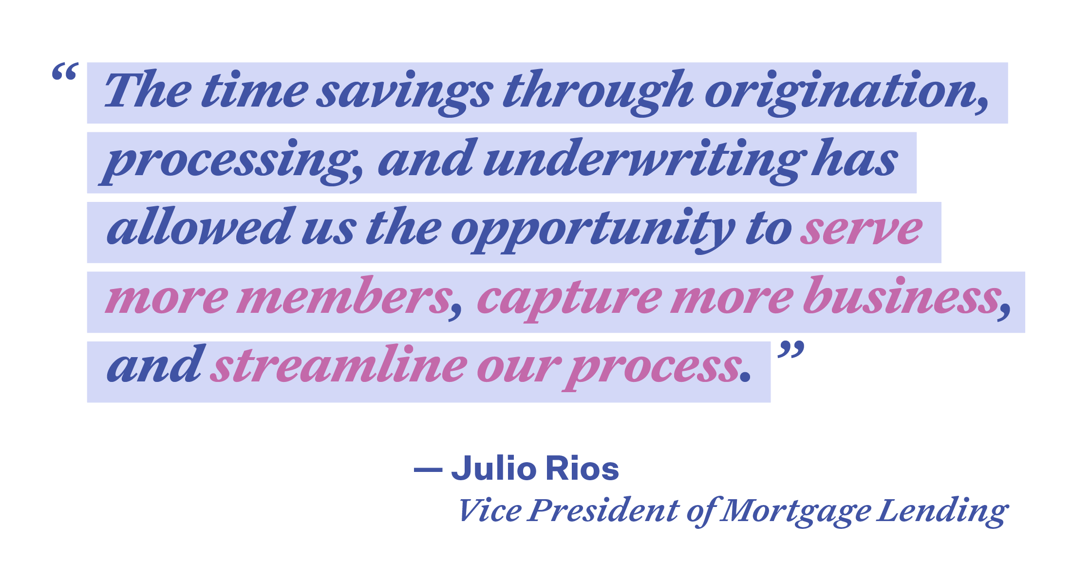 The time savings through origination, processing, and underwriting has allowed us the opportunity to serve more members, capture more business, and streamline our process.