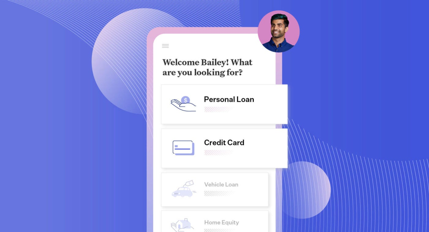 Illustration of Blend's interface that supports a personal loans strategy