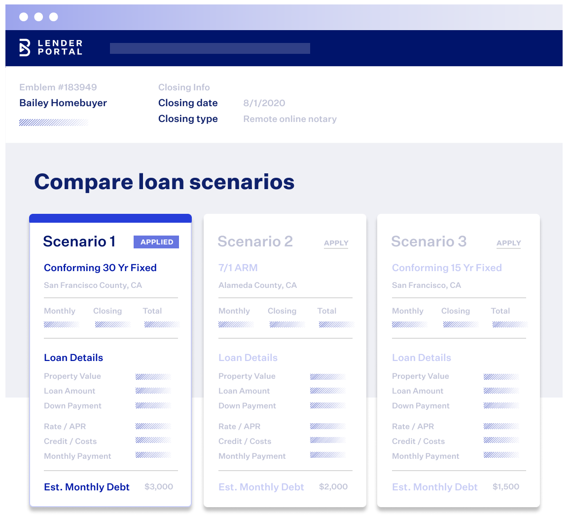 Blend LO Toolkit loan scenario view