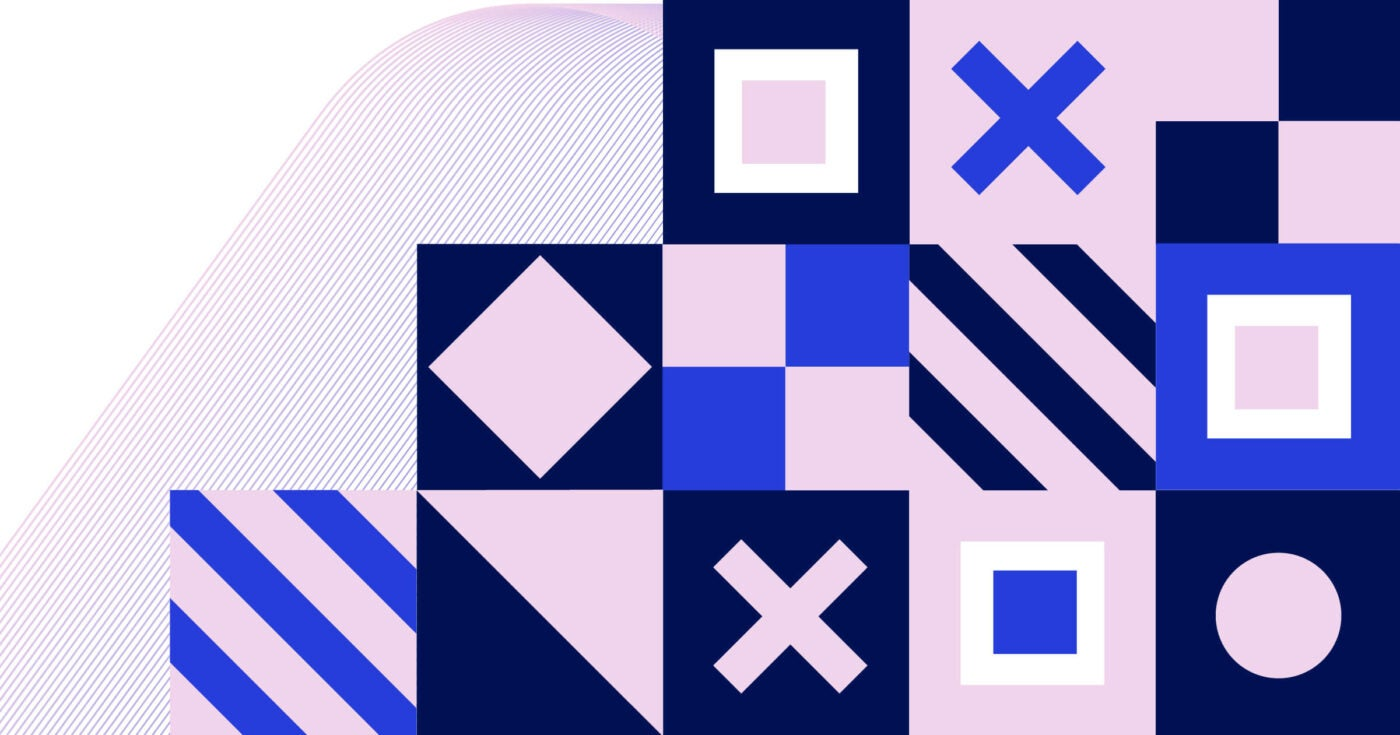 A series of squares are stacked on top of each other, each with a different design overlaid inside of the square. There is a light pink square with diagonal stripes, next to a square made up of two dark blue and light pink triangles. To the right of this, there is a dark blue square with a pink 'x' in the middle. The design continues, with 3 rows total and 3, 4, and 5 squares in each row from the top to bottom of the card.