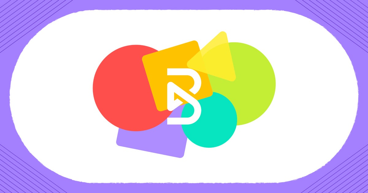 """A white rectangular card with a light purple border featuring the """"B"""" of the Blend logo in the middle in white font. Behind the """"B"""" are overlapping shapes of different colors, including a red circle, orange square, yellow triangle, green circle, teal circle, and purple square."""